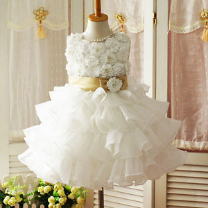 Girls-Toddler-3D-Flower-Tutu-Layered-Skirt-Princess-Party-Bow-Kids-Waist-Dress