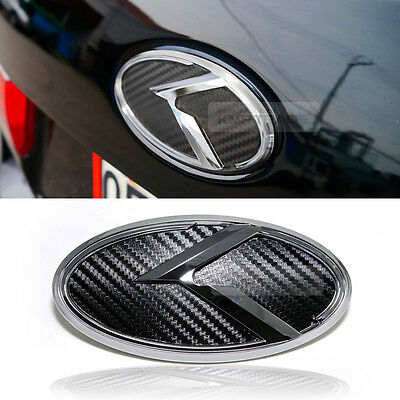 3D K Logo Rear Trunk Carbon Black Emblem Badge For KIA 2015-2019 Sotento UM