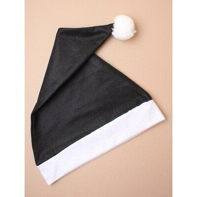 Black And White Santa Hat (NEW Adults Black and White santa hat fancy dress Christmas stocking)