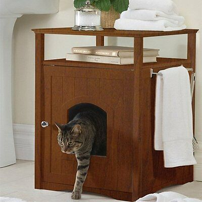 Cat Box Table End Side Cabinet House Wood Accent Night Stand Modern Transitional