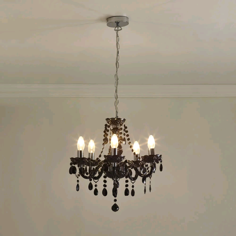 New Wilko Marie Therese 5 Arm Black Chandelier Ceiling