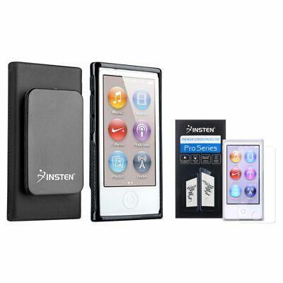 Black TPU Case w/Belt Clip+2x Screen Protector For iPod Nano 7 7G 7th Generation