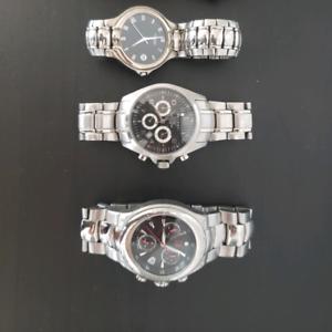 3 Men's Blackface Wrist Watches