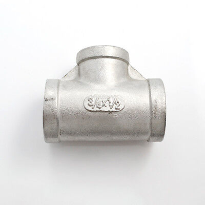 34x12x34 Female Tee Threaded Reducer Pipe Fitting Stainless Steel 304 Npt