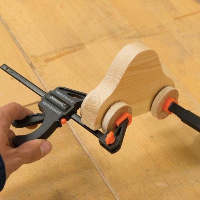 2PC Silverline 150mm Quick Bar Ratchet Clamps Grip Rapid Wood Work DIY Modelling