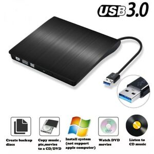 External CD, DVD R/W Drive with USB 3, Read, Write, Install,Play