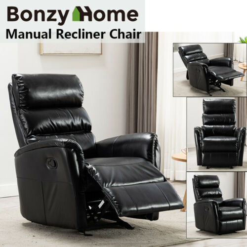 Manual Recliner Chair Leather Sofa Padded Seat Living Room L