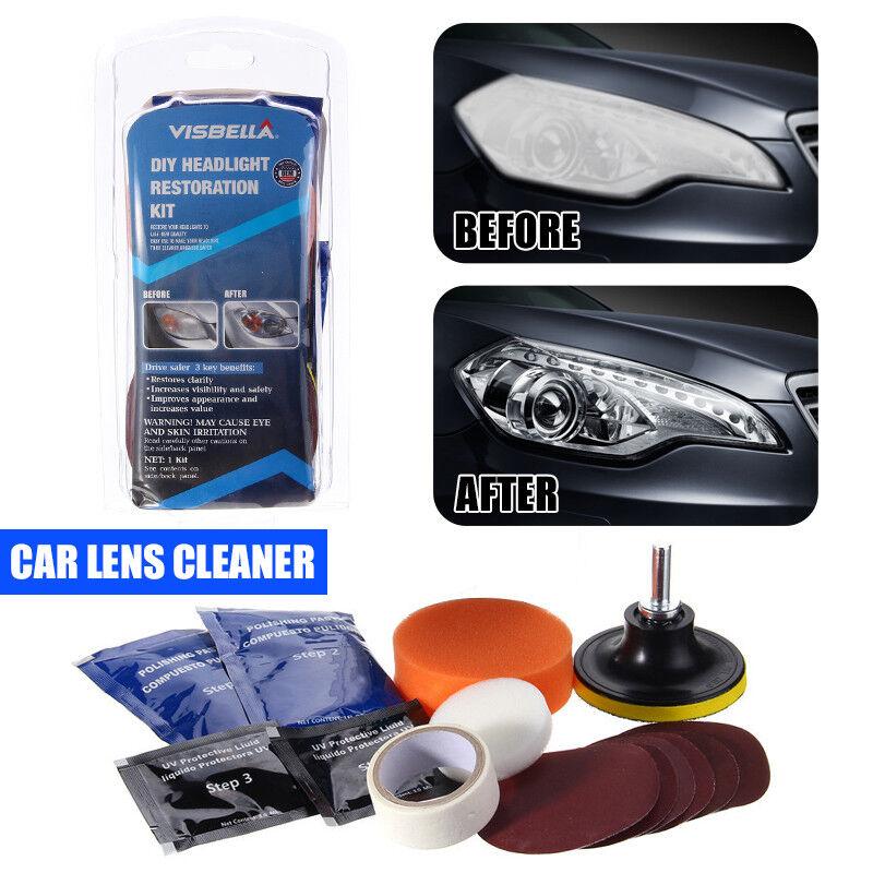 Cleaning Restoration Car Motorcycle Headlight Polish Cleaner Kit Headlamp Lens