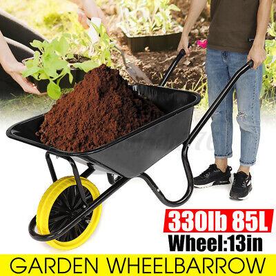 Heavy Duty Wheelbarrow 1 Wheel 85L Barrow Garden Builders Pneumatic Tyre 150KG