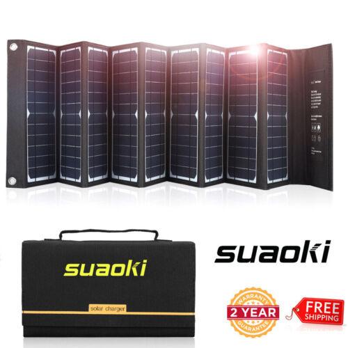 Suaoki 60W Folding Portable Solar Panel Charger USB Battery