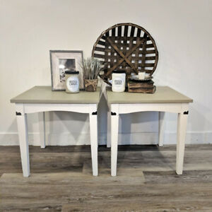 Pair of Side Tables Solid Wood
