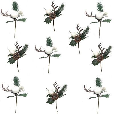 10 rami artificiali decorazioni natalizie con pigna fiori per albero natale