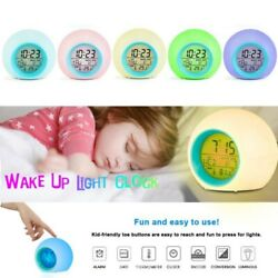 Kids LED Digital Alarm Clock 7 Color Changing Wake Up Light with Temperature