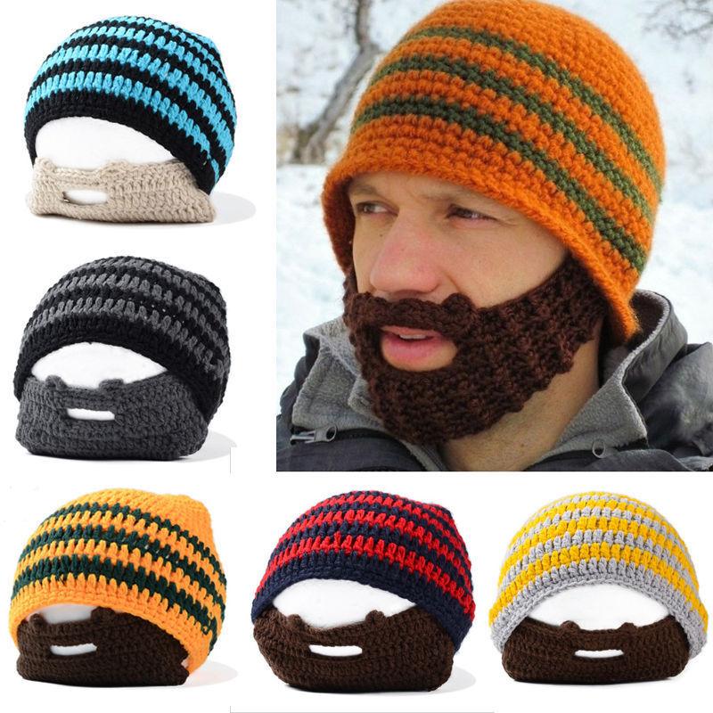 Men Knitte Beanie Hats Moustache Beard Caps with Face Mask W