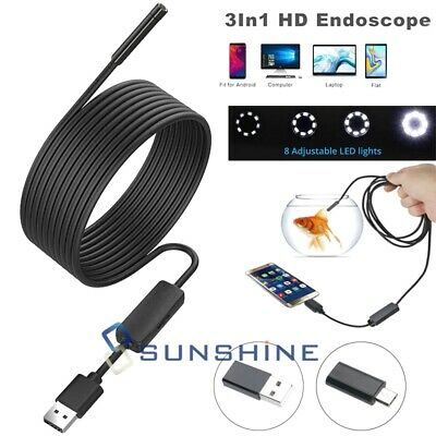 16ft Hd Endoscope 8led Camera Snake Inspection Tool Kit For Android Win 78mac