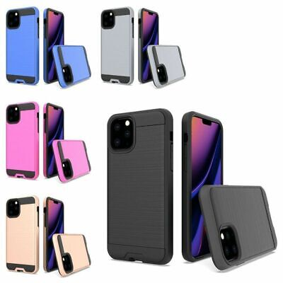 For Apple iPhone 11 Pro Max Simplistic Metallic Hard TPU Hybrid Case Cover