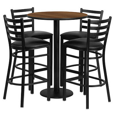 Restaurant Table Chairs 30 Walnut Laminate With 4 Ladder Metal Bar Stools