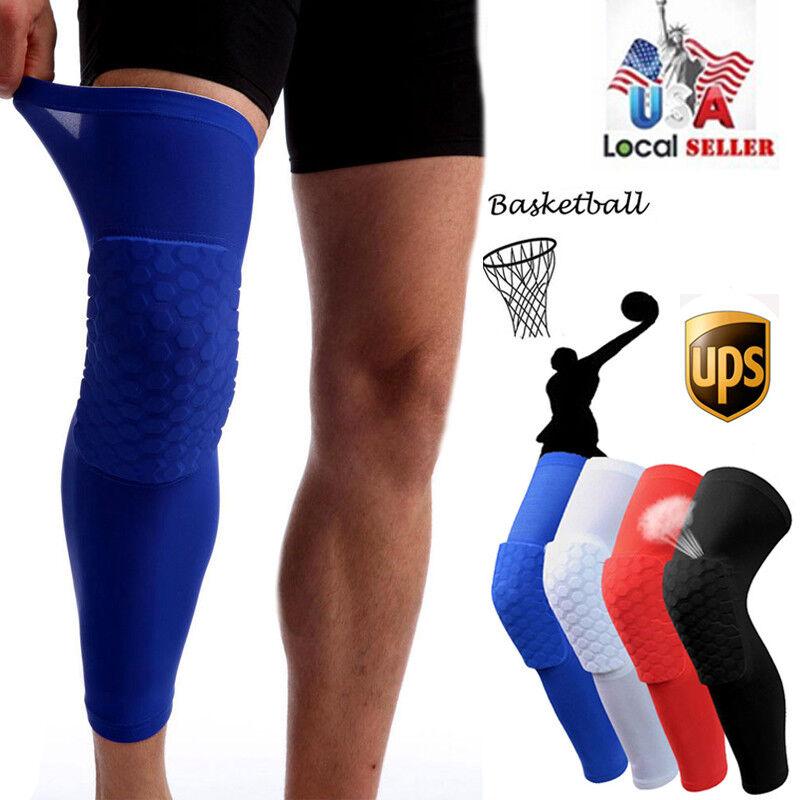 COOLOMG Pad Crashproof Basketball Leg Knee Long Sleeve Protector Gear