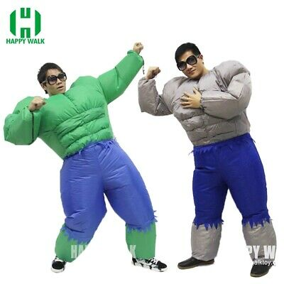 Adult Inflatable Green Muscle Man Costume Outfit Suit Halloween Cosplay Party ](Green Muscle Suit)