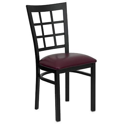 10 Metal Window Back Restaurant Chairs W Burgundy Seat