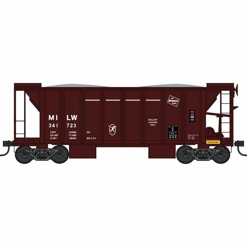 Bowser 42811 - 70 Ton Ballast Hopper  Milwaukee Road (MILW) 341733 - HO Scale