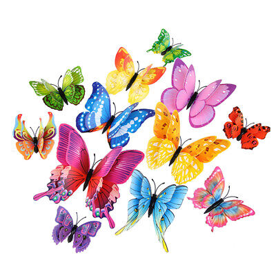 3d Butterfly Stickers (12PCs 3D Mix-Color Butterfly Wall Decoration Kid's Room Decor Stickers for)