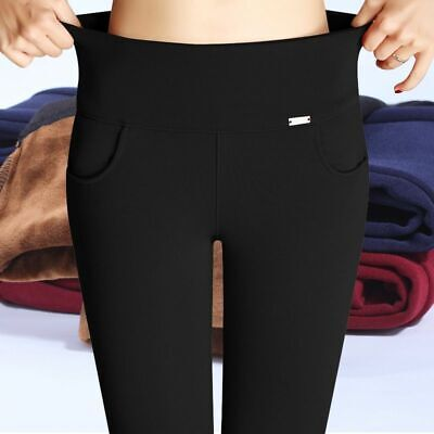 Office Women Pants Thick Design Warm Fleece Trousers Leggings Premium Look Gift ()