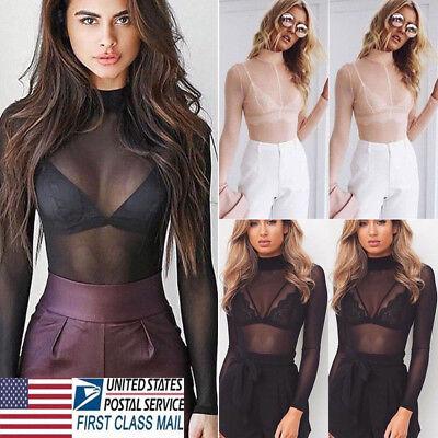 Top Netting (Women Sheer Mesh Fish Net Long Sleeve Turtle Neck See Crop Top Shirt Blouse TOPS )