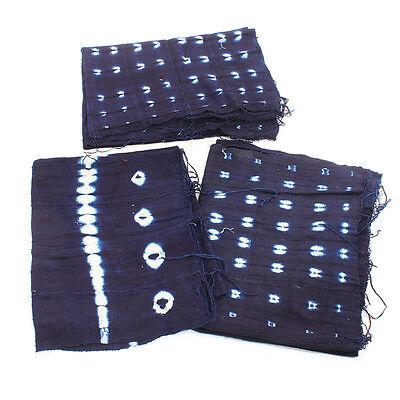 "Authentic Indigo Mudcloth Fabric African Mali Mud Cloth Handwoven 63"" x 45"""