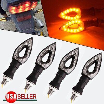 4x Amber Motorcycle Black 12 LED Turn Signal Indicators Blinker Light Universal