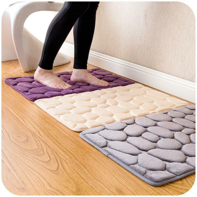 1 Pc Home Bath Mat Non-Slip Bathroom Carpet Soft Coral Fleece Memory Foam Rug Ma