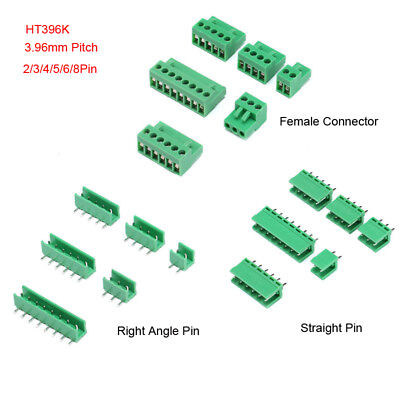 Pcb Terminal Block Connector Ht396k 3.96mm Pitch 234568pin Green 300v 10a