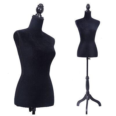 New Female Women Mannequin Torso Dress Form Display W/ Black Tripod Stand Black