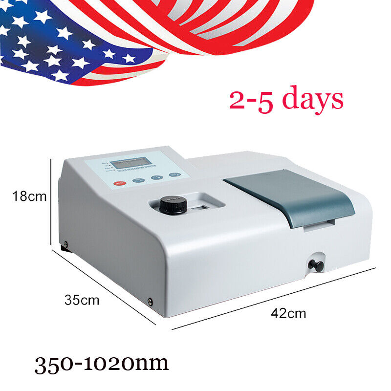 LCD Visible Spectrophotometer Analytical Reader 350-1020nm Tungsten Lamp US