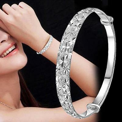 (Women 925 Sterling Silver Crystal Chain Bangle Cuff Charm Bracelet Jewelry Gift)