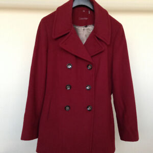 Calvin Klein Wool-Cashmere Burgundy Coat – Size 14 – Almost New
