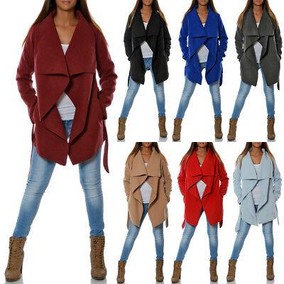 Damen Mantel Hüftlang Cardigan Übergangs Herbst Jacke Wasserfall Kragen Gürtel Herbst Mantel