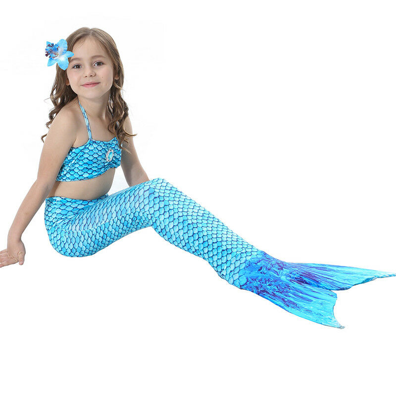 Kinder Meerjungfrau Kostüm Mädchen Bademode Badeanzug Cosplay Sommer Bikini Set Blau