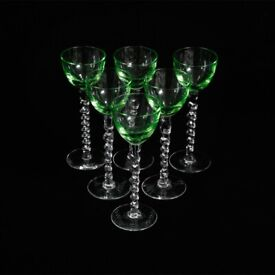 90265dc12a22 Vintage Green Twisted Stem Aperitif   Cordial Glasses KODE-STORE