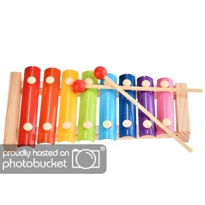 Xylophon für Kinder mit 8 Klangplatten Metallophon mit 2 Schlägel und Holzrahmen