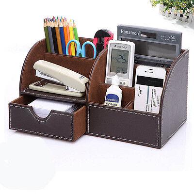 Brown Leather Desk Organizer Pen Pencil Holder Desktop Office Home Storage Box