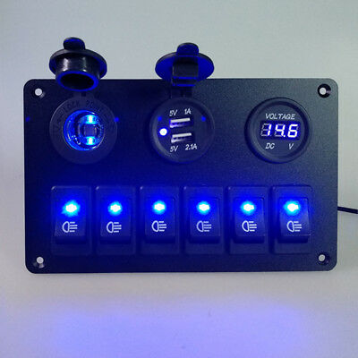 Car Marine Boat 6-Gang Waterproof Circuit Blue LED Rocker Switch Panel Breaker F