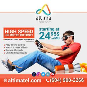 24.95$ Unlimited Internet, Free Installation, No Contract