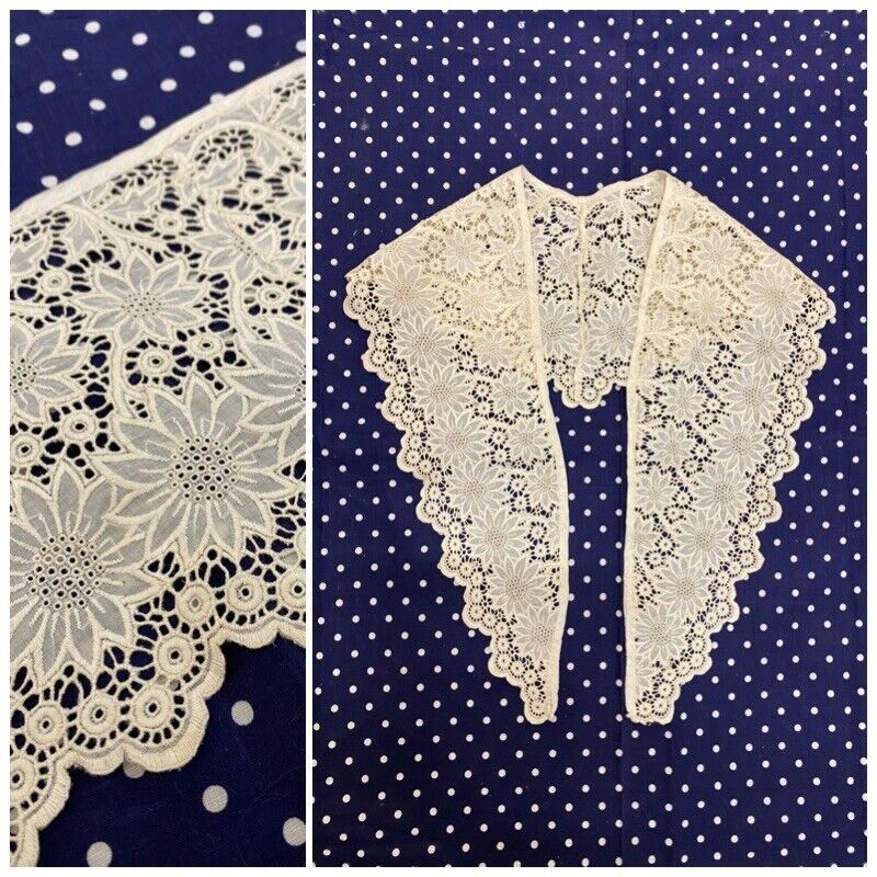 Antique Victorian Embroidery Floral Lace Collar Broderie Anglaise Shawl Pelerine