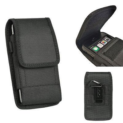 Rugged Black Nylon Pouch Canvas Case Belt Loop Holster For BLU Vivo 8L / Vivo 8