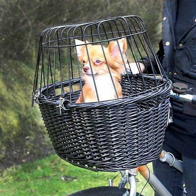 Bike Basket Wicker Bicycle Mounted Rack Dog Pet Wire Mesh Carrier Cushion
