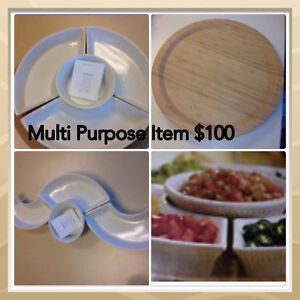 Lazy Susan w/ceramic dishes for bake/serve Edmonton Edmonton Area image 1