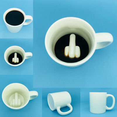 Funny Joke Middle Finger Coffee Cup Big Surprise Ceramic Mug Gift for -