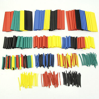 328 Pcs 5 Colors 8 Sizes Assorted 2:1 Heat Shrink Tubing Wrap Sleeve Kit top t