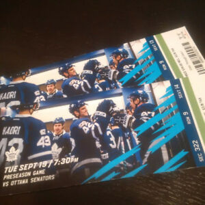 Leafs tickets available for Monday vs Habs at Ric From $40 each.